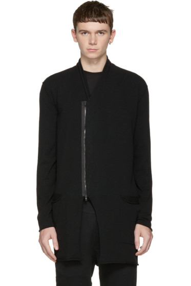Isabel Benenato - Black Zip-Up Cardigan