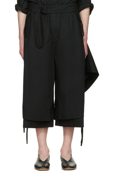 Craig Green - Black Cotton Long Layered Shorts