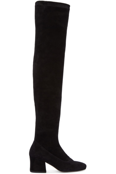 Dorateymur - Black Suede Sybil Over-the-Knee Boots