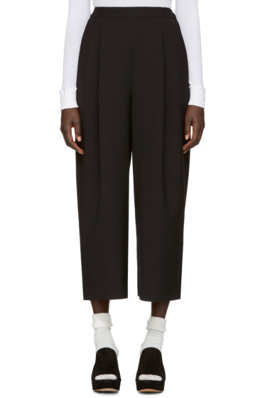 Enfold - Black Wide-Leg Cropped Trousers