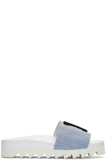 Joshua Sanders - Blue Denim 'LA' Slide Sandals