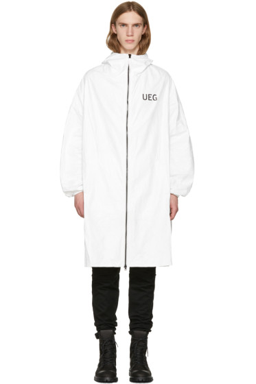 UEG - White Tyvek® Logo Hooded Coat