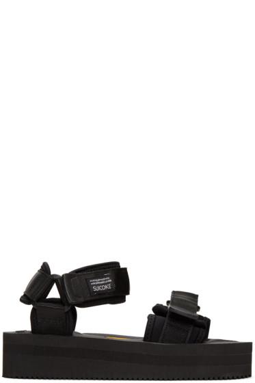 Suicoke - Black Velcro Straps Flatform Sandals