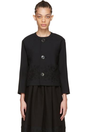 Tricot Comme des Garçons - Black Floral Embroidery Jacket