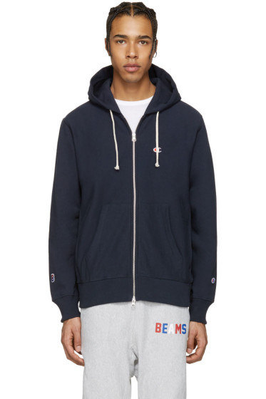 Champion x Beams - Navy Logo Zip-Up Hoodie