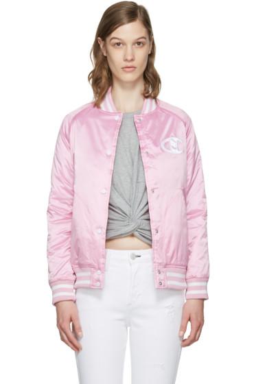 Champion Reverse Weave - Pink Logo Bomber Jacket