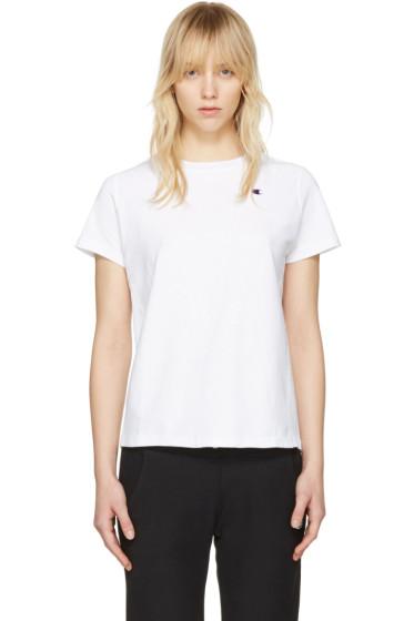 Champion Reverse Weave - White Small Logo T-Shirt