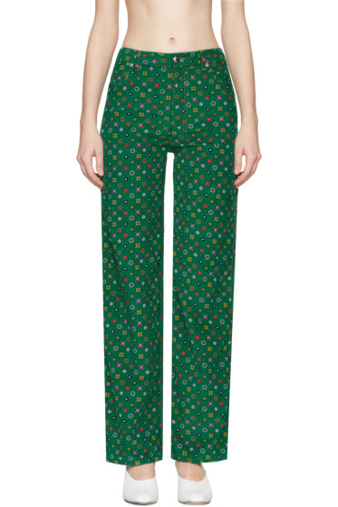 Eckhaus Latta - Green Printed Corduroy EL Trousers