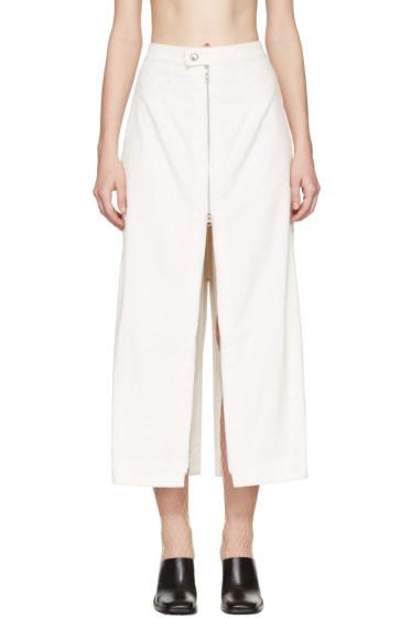 Eckhaus Latta - Ivory Corduroy Zip Skirt