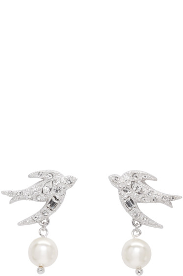 Miu Miu - Silver Swallow Crystal Earrings