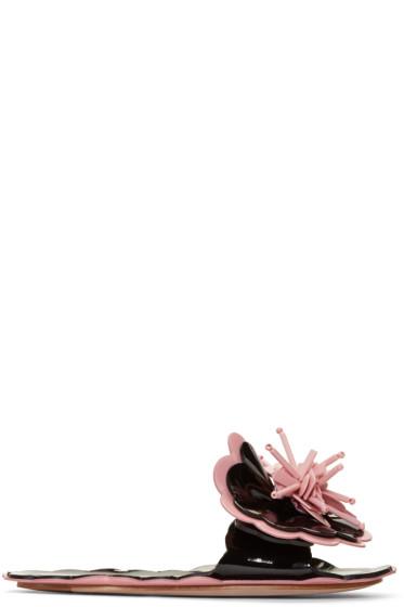 Miu Miu - Black Floral Slide Sandals