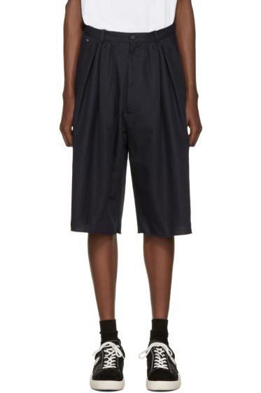 Bless - Navy Pleated Bermuda Shorts