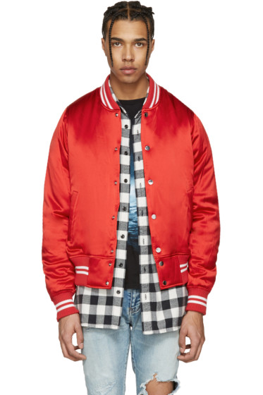 Amiri - Red Satin Baseball Bomber Jacket