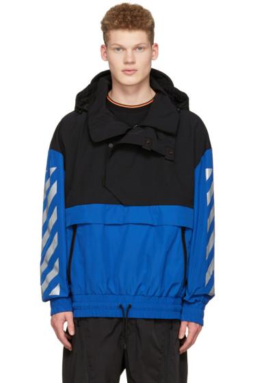 Moncler O - ブラック & ブルー フード ジャケット
