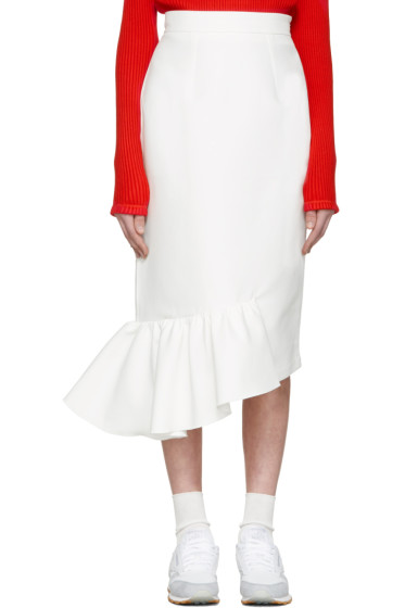 Shushu/Tong - White Single Ruffle Skirt