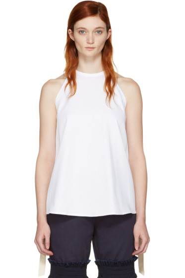 Ovelia Transtoto - White Embroidered Halter Top