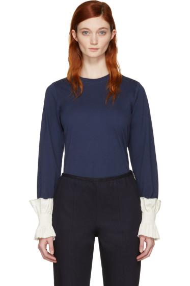 Ovelia Transtoto - Navy Frill Cuff T-Shirt