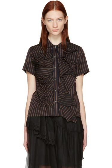 Chika Kisada - Navy Striped Round Collar Shirt