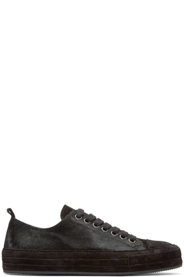 Ann Demeulemeester - Black Calf-Hair Sneakers