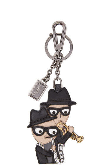 Dolce & Gabbana - Black Leather Family Keychain