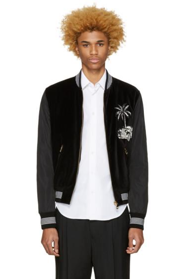 Dolce & Gabbana - Black Embroidered Bomber Jacket