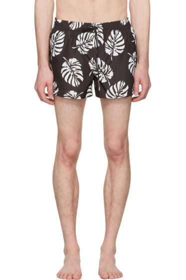 Dolce & Gabbana - Black Leaf Swim Shorts