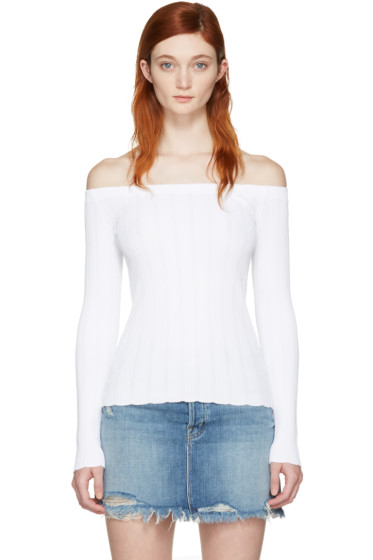Rag & Bone - White Kari Off-the-Shoulder Pullover