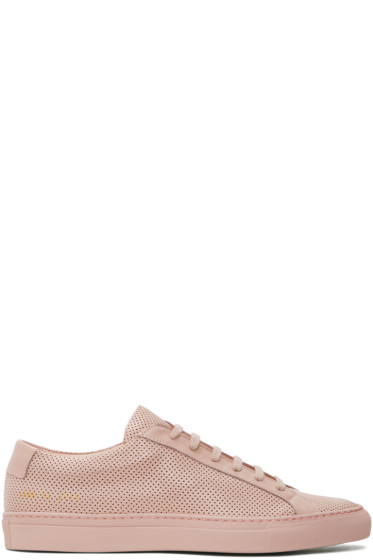 Common Projects - Pink Perforated Original Achilles Low Sneakers