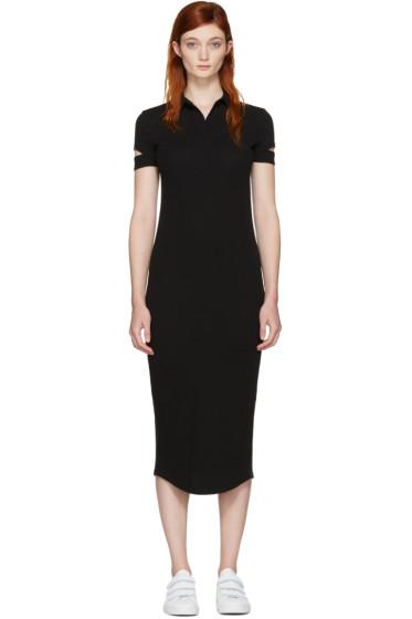 Helmut Lang - Black Ribbed Shirt Dress