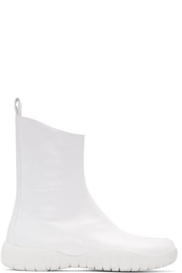 Maison Margiela - ホワイト フラット タビ ブーツ