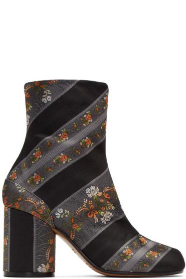 Maison Margiela - グレー ジャカード フローラル タビ ブーツ