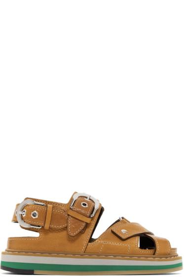 Maison Margiela - Tan Brushed Effect Leather Sandals
