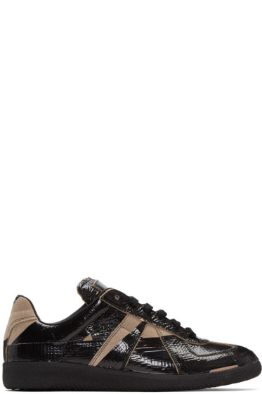 Maison Margiela - Black & Taupe Tape Replica Sneakers