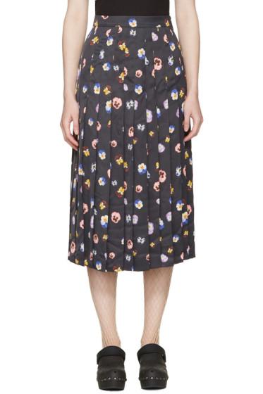 Christopher Kane - Black Ditsy Pleated Skirt