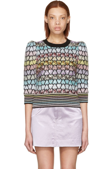 Marc Jacobs - Multicolor Cropped Mohair Heart Sweater