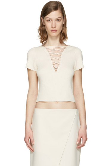 T by Alexander Wang - Beige Lace-Up Pullover
