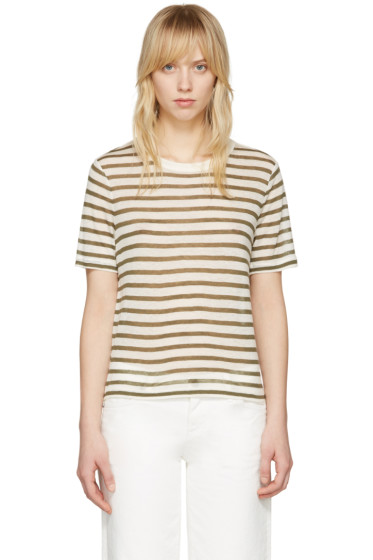 T by Alexander Wang - Ivory & Green Cropped T-Shirt
