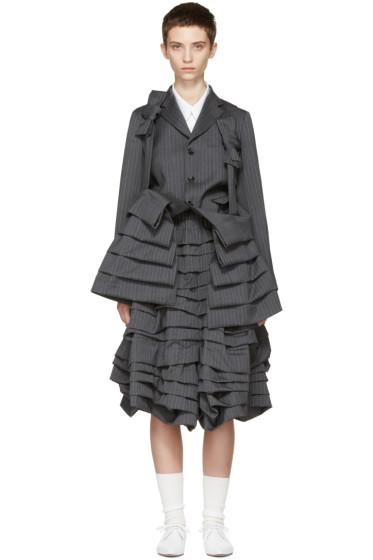Comme des Garçons - Grey Bow Suspender Ruffle Coat