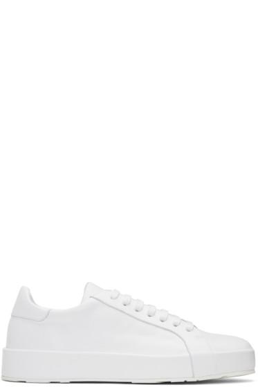 Jil Sander - White Leather Sneakers