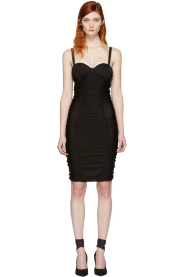 Balmain - Black Ruched Mesh Dress