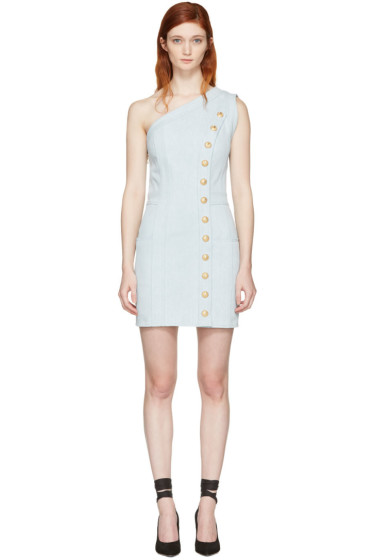 Balmain - Blue Denim Single-Shoulder Dress