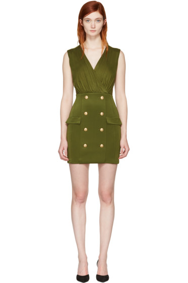 Balmain - Green Gold Buttons Dress