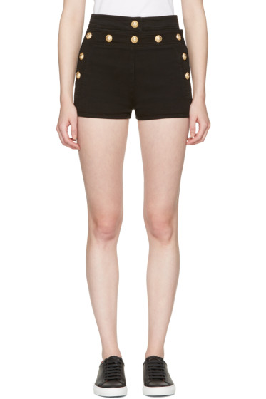 Balmain - Black Denim Button Mini Shorts