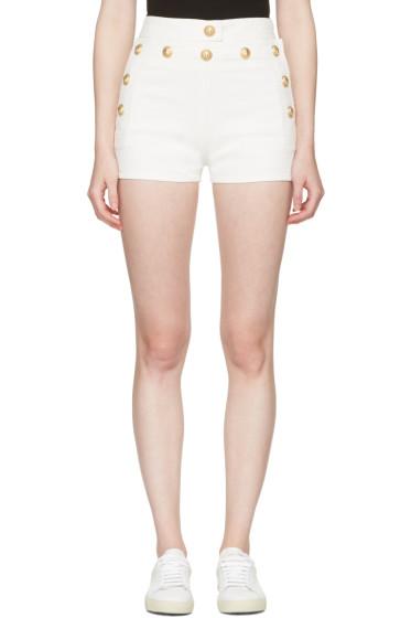 Balmain - White Denim Button Mini Shorts