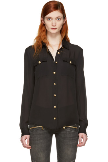 Balmain - Black Silk Gold Buttons Shirt