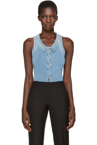 Balmain - Blue Lace-Up Bodysuit
