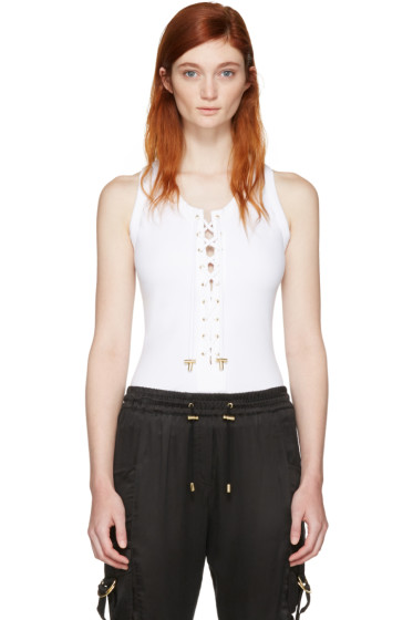 Balmain - White Lace-Up Bodysuit