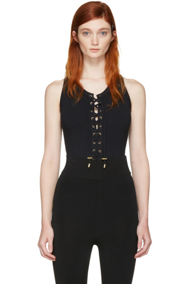 Balmain - Black Lace-Up Bodysuit
