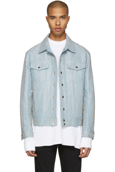 Balmain - Blue Embroidered Denim Jacket