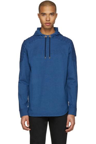 Balmain - Blue Quilted Logo Hoodie
